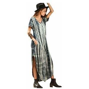 NWOT Black White Tie Dye Boho Maxi Dress